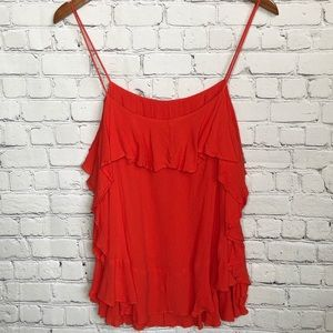Intimately Free People orange ruffled strappy top